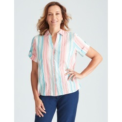 Millers Classic Stripped Elvow Sleeve Shirt - Peach Stripe - 10 found on Bargain Bro from crossroads for USD $11.92