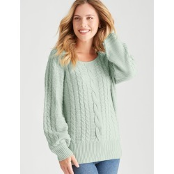 Rockmans Long Sleeve Cable Knit Button Jumper - Seagrass - XXL found on Bargain Bro from Noni B Limited for USD $19.89