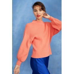 Emerge High Neck Balloon Sleeve Sweater - Melon - XL found on Bargain Bro India from Rivers for $17.51