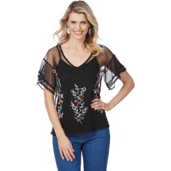 Rockmans Mesh Embroidered Top - Black - L found on Bargain Bro Philippines from Rockmans for $5.90
