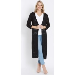 Rockmans 3/4 Length Long Pointelle Stitch Cardi - Black - XS found on Bargain Bro Philippines from crossroads for $15.72