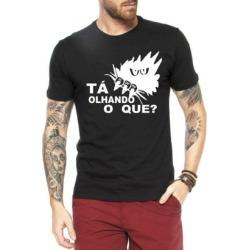 Camiseta Criativa Urbana Frases Engraçadas Olhando O Que - Masculino