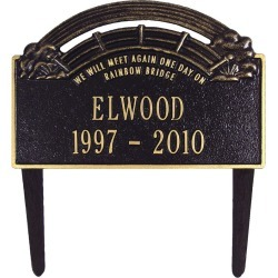 Personalized Rainbow Bridge Pet Memorial Lawn Plaque, in Black found on Bargain Bro Philippines from Plow & Hearth for $64.95