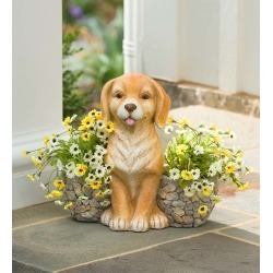 Faux Stone Dog Statue Double Planter found on Bargain Bro India from Plow & Hearth for $39.95