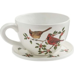 Indoor/Outdoor Cardinal Teacup Planter with Saucer found on Bargain Bro India from Plow & Hearth for $39.95