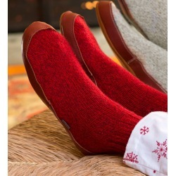 Acorn® Ragg Wool Slipper Socks with Suede Outsole in Red found on Bargain Bro Philippines from Plow & Hearth for $53.95