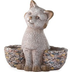 Faux Stone Cat Statue Double Planter found on Bargain Bro India from Plow & Hearth for $39.95