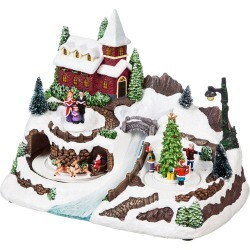 Christmas Village w/ River LED Scene with Music Option