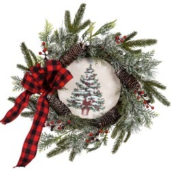 LED Christmas Tree Pine Cone and Berries Wreath