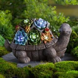 Solar Succulent Turtle Garden Statue