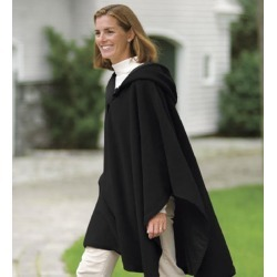 Reversible Fleece & Microfiber Cape w/Hood, in Black/Black, Size OSFA found on Bargain Bro Philippines from Plow & Hearth for $99.95
