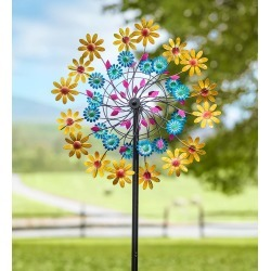 Yellow Daisy Metal Wind Spinner