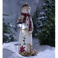 Woodland Snowman with LED Solar Lantern Outdoor Holiday Décor found on Bargain Bro India from Plow & Hearth for $99.95