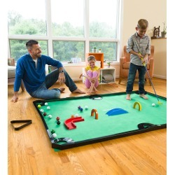 Golf Pool Indoor Family Game, Includes Golf Clubs, Balls, Mat, Rails, and Wooden Arches and Ramps found on Bargain Bro India from HearthSong for $94.98