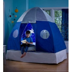 Galactic Spaceship Twin Bed Tent for Kids with Starburst LED Light found on Bargain Bro India from HearthSong for $149.00