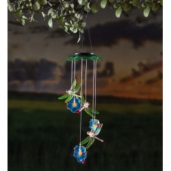 Color Changing Solar Mobile with Dragonflies and Flowers