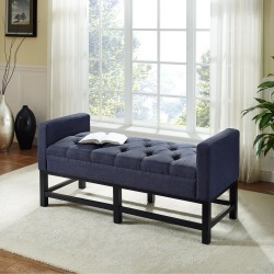 Navy Upholstered Bench - Claremont