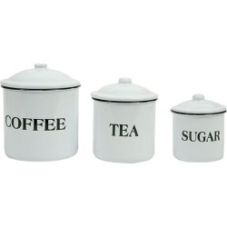 Distressed White Set of Coffee, Tea and Sugar Containers