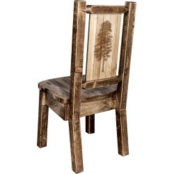 Rustic Laser Engraved Pine Tree Dining Chair - Homestead