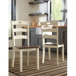 Set of 2 Cream and Brown Dining Chairs - Woodanville