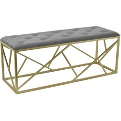 Tufted Gray Upholstered Bench with a Gold Metal Base