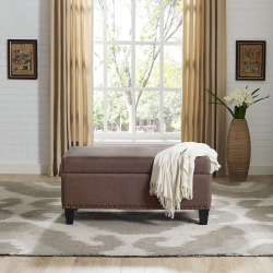 Bourbon Brown Upholstered Bench - Desmond