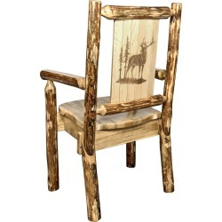 Captain's Dining Chair with Laser Engraved Elk - Glacier