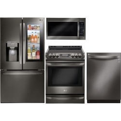 LG 4 Piece Electric Kitchen Appliance Package with Smart.