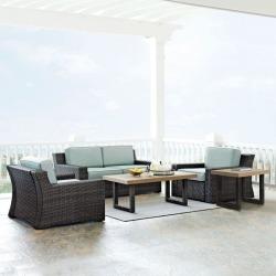 Mist and Brown Wicker Patio Furniture 5 Piece Set - Beaufort