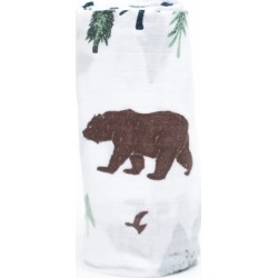 White, Brown and Green Yosemite Bamboo Rayon Muslin Swaddle Blanket