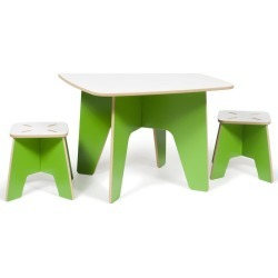 Green Kids Table and 2 Stools