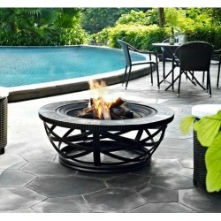 Slate Round Outdoor Fire Pit - Glendale