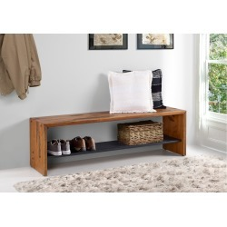 58 Inch Rustic Amber Brown Reclaimed Wood Entry Bench