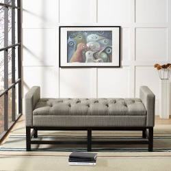 Shadow Gray Upholstered Bench - Claremont