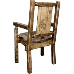 Captain's Dining Room Chair with Laser Engraved Wolf - Homestead