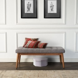 Brown and Gray Upholstered Bench - Landon
