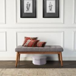 Brown and Gray Upholstered Bench - Landon