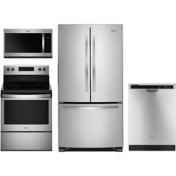 Whirlpool 4 Piece Stainless Steel Kitchen Appliance Package with.