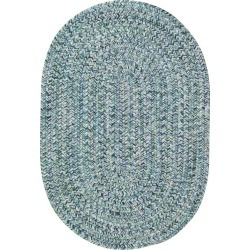 5 x 8 Medium Ocean Blue Oval Braided Indoor-Outdoor Rug - Sea Glass found on Bargain Bro India from rcwilley.com for $379.00