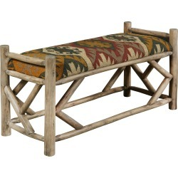 Red, Green and Yellow Upholstered Southwest Reclaimed Wood Bench