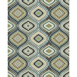 8 x 10 Large Cream and Turquoise Blue Rug - Brookwood