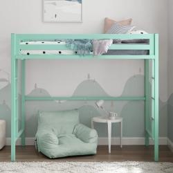 Contemporary Mint Green Premium Deluxe Twin Metal Loft Bed