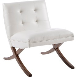 Mid Century Modern White Faux Leather Accent Chair - Wynn