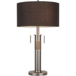 Gun Metal Industrial Table Lamp with Black Shade - Trophy
