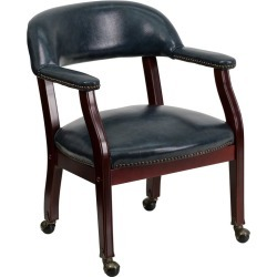 Navy Blue Vinyl Accent Chair with Casters