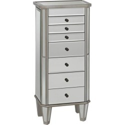 Silver and Mirrored Jewelry Armoire