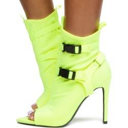 Carmy-18 Lycra Strap Heels Neon Yellow Lycra