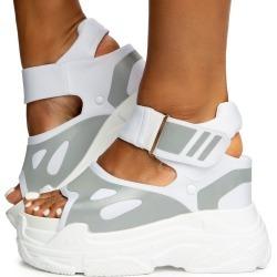 Blueberry-02 Platform Sandals White