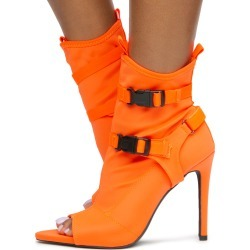 Carmy-18 Lycra Strap Heels Neon Orange Lycra