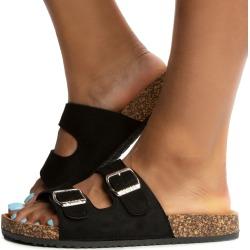 Glory-555 Sandals Black Suede